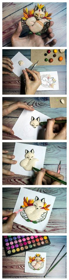 Polymer clay brooch Fox tutorial