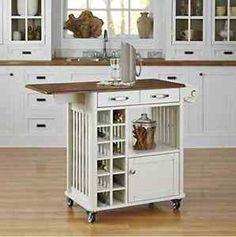 White Rolling Kitchen Island Cart