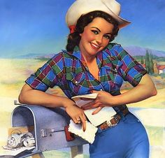 Looks like a good mail day at the ranch! #pinup #girl #vintage #Western #cowgirl #fashion