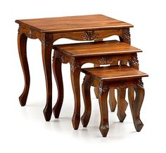 Whip out additional surface space for drinks and nibbles with this set of three mahogany nesting tables. Featuring cabriole legs and carved detailing, they'r. Solid Wood Coffee Table, Coffee Table Design, Home Living, Living Room Modern, Woodworking Furniture, Furniture Decor, Corner Table Designs, Wood Shop Projects, Dinning Table