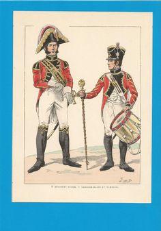 France-Planche de JOB -1804 1814.3ème Régiment Suisse.Tambour et Tambour Major.