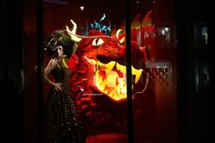Harrods Chinese New Year windows at Knightsbridge, London visual merchandising
