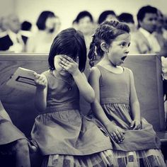 Little girls' reaction to the kiss at a wedding.. I feel like this was us when we were little