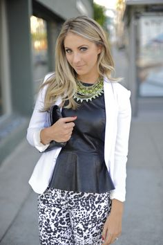 printed pants and leather peplum top. and her skin/makeup looks amazing! Schuman / Cupcakes and Cashmere Look Fashion, Autumn Fashion, Street Fashion, Leather Peplum Tops, Black Peplum, Moderne Outfits, Look Chic, Passion For Fashion, J Crew