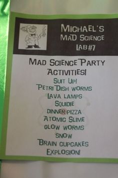 Mad Science Birthday party - really fun ideas!!
