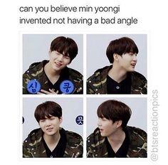 Min Yoongi invented having a good angle at every angle ❤ #BTS #방탄소년단