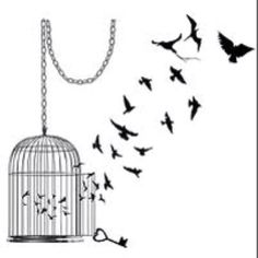 The perfect cage I am looking to cover up my hideous, faded cage. Keeping the chain for sure, but the little birds won't be staying inside the cage will be little feather falling! Cage Tattoos, Star Tattoos, Girl Tattoos, Tatoos, Vogel Tattoo, The Caged Bird Sings, Tattoo Und Piercing, Geniale Tattoos, Tattoo Motive
