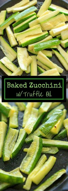 Baked Zucchini with Truffle Oil is the perfect easy side dish! Delicious and quick way to eat up your zucchini crop.