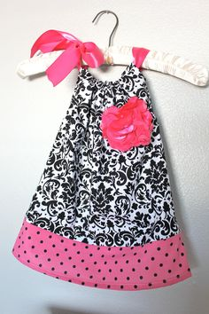 Baby Girl Pillow Case Dress W/Polka Dot Trim - Damask Pillow Case Dress. $29.99, via Etsy.
