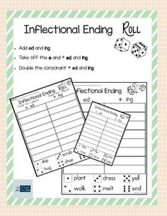 """These worksheets are perfect to use in a literacy center.  There are 9 total worksheets:  3- add ed/ing 3- take off the """"e"""", add ed/ing 3- double the consonant and add ed/ing  Students will roll the die and write the corresponding base word with the ed/ing inflectional endings."""