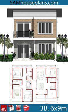 2bhk House Plan, Narrow House Plans, Modern House Floor Plans, Barn House Plans, Bedroom House Plans, New Model House, Model House Plan, 2 Storey House Design, Small House Design