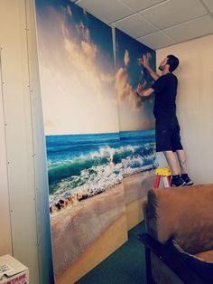 Beach paradise wall graphics for our Seattle Account Executive Offices. Say hello to the sunshine!