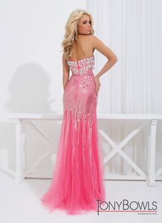 Tony Bowls 2014 Coral Ivory Nude Strapless Sweetheart Sequin Mermaid Gown 114740 | Promgirl.net