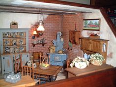 Interior was designed by myself furnished with items by Jane Graber, Pete Boorham, Ray Storey, Bob Hurd and Bob Stevenson. Miniature Rooms, Miniature Kitchen, Miniature Crafts, Miniature Furniture, Kitchen Paint, Kitchen Dining, Dining Room, Mini Kitchen, Miniture Things