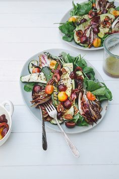 grilled zucchini, radicchio + arugula salad with bourbon vinaigrette + cherries // the first mess