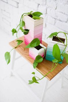 MAKE IT / 53; wooden popsicle sticks glued on a glass vase,