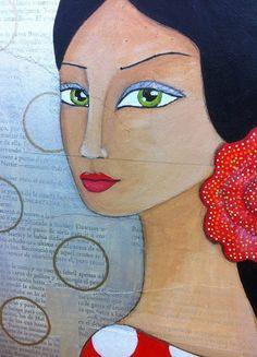 Alba. Mixta sobre lienzo 20x50 cm. Cuadro por CynthiaGordillo Spanish Art, Acrylic Painting Lessons, Mini Paintings, Arte Pop, Diy Canvas Art, Mexican Art, Kawaii Art, Andalucia, Modern Artwork