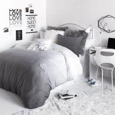 Grey Ombre Duvet Cover and Sham Set Room Grey Bedding, White Bedroom, Luxury Bedding, Bedding Sets, Bedroom Small, Master Bedrooms, Small Rooms, Master Suite, Teenage Girl Bedrooms