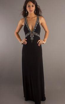 Black Sheath/Column V-neck Empire Long/Floor-length Sleeveless Beading,Crystal Chiffon Backless Prom Dresses Dress