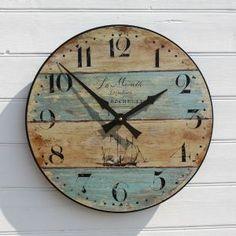 La Mouette Clock | Nautical Clocks | Wall Clocks | Driftwood Styled Driftwood Mirror, Wood Clocks, Rustic Wall Clocks, Beach Wood, Rustic Walls, Nautical Clocks, Nautical Gifts, Diy Clock, Clock Wall