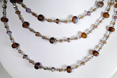 """Frosted Smoke Topaz AB Potato Shaped Glass Beads - No Clasp - 27"""" long Necklace"""
