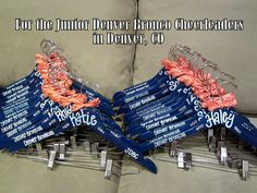 custom painted hangers for CHEERLEADERS, dance teams, pom squads, and drill teams (Mix Fonts Link) Football Cheer, Cheer Camp, Cheer Coaches, Cheerleading Gifts, Cheer Gifts, Cheer Bows, Fun Gifts, Dance Team Gifts, Cheer Dance