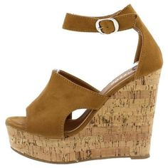 DEANA23 CAMEL CUT OUT ANKLE STRAP CORK PLATFORM WEDGE ($11) ❤ liked on Polyvore featuring shoes, sandals, cut out sandals, wedge sandals, wedge heel sandals, ankle strap wedge sandals and cut-out flats