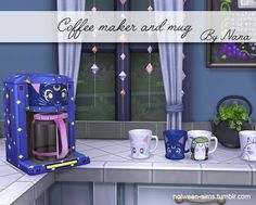 """nolween-sims: """"Coffee maker and mug - BY NANA Mods Sims, Sims 4 Mods Clothes, Maxis, Sims 4 Cc Furniture Living Rooms, Sims 4 Anime, Sims 4 Traits, Sims 4 Kitchen, Sims Packs, Muebles Sims 4 Cc"""