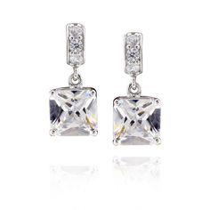 FD Sterling Square Cubic Zirconia Earrings