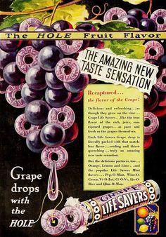 Love finding Life Savers ads I haven't seen: Grape Lifesavers - the amazing new taste sensation! 1930s