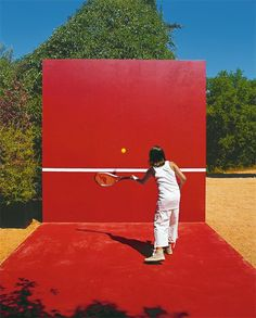 Designed for tennis, badminton, volleyball or table tennis, this bright red multi-sport court features clever storage that tucks everything away when not in use. Another idea is to just paint a line on your garage wall & use, if budget is tight xx Backyard Sports, Backyard Play, Backyard Games, Outdoor Play, Backyard Ideas, Outdoor Games, Backyard Landscaping, Cool Diy Projects, Outdoor Projects