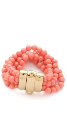 Spring 2013 Fashion Trends: shades of coral Coral Bracelet, Coral Jewelry, Beaded Jewelry, Jewelry Accessories, Fashion Accessories, Jewelry Design, Fashion Jewelry, Beaded Bracelets, Bangles