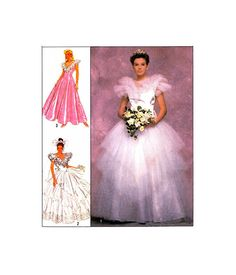 80s Simplicity 9100 Jessica McClintock Bridesmaid Dress, Wedding, Bridal Gown with Puffy Tulle Skirt, U/C, F/Folded, Sewing Pattern Size 14 Gored Skirt, Jessica Mcclintock, Lace Ruffle, Princess Seam, Dress Wedding, Bridal Gowns, Size 14, Bodice, Sewing Patterns