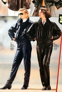 80s Fashion, High Fashion, Vintage Fashion, Fashion Outfits, Womens Fashion, Cuir Vintage, Vintage Leather, 80s Big Hair, Leather Fashion