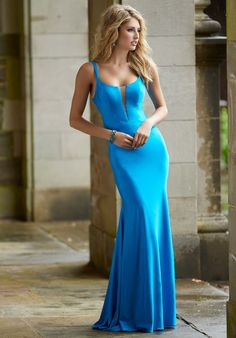 Neon Silky Jersey Sheath Blue Prom Dress Bright, fitted silky jersey gown with sheer plunging v neckline and crisscross back. Neon Prom Dresses, Prom Dresses Online, Dresses For Sale, Short Dresses, Quinceanera Dresses, Sparkly Dresses, Blue Dresses, Pure Couture, Mori Lee Dresses