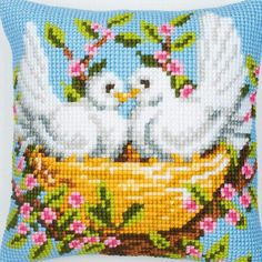 Nesting Birds Cross Stitch Cushion Kit By Vervaco Cute Cross Stitch, Cross Stitch Bird, Cross Stitch Flowers, Cross Stitch Embroidery, Modern Cross Stitch Patterns, Cross Stitch Designs, Cross Stitch Cushion, Easy Stitch, Stitch Kit