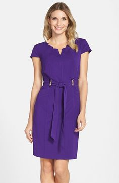 edc26ff3c6a Ellen Tracy Belted Stretch Sheath Dress (Regular  amp  Petite) available at   Nordstrom