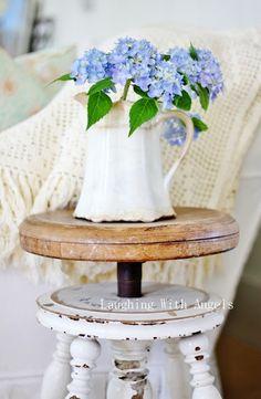 ironstone pitcher with blue hydrangeas