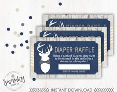 Rustic Deer Baby Diaper Raffle Tickets Navy and by SwankyDesignCo