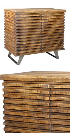 It doesn't get much woodsier than this. The Kearney Cabinet epitomizes the skyrocketing trend of bringing outdoor ambiance to an indoor space. It's modern and natural at the same time, offering versati... Find the Kearney Cabinet, as seen in the Industrial Impressions Collection at http://dotandbo.com/collections/industrial-impressions?utm_source=pinterest&utm_medium=organic&db_sku=114851