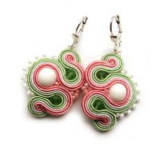 Delicate soutache earrings pastel handmade embroidery green white pink satin strips TOHO oaak gift for her under 50