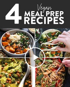 We have created four easy vegan meal prep meals with the same base of 5 ingredie. , We have created four easy vegan meal prep meals with the same base of 5 ingredients to make your vegan meal prep for the week a breeze! These vegan me. Vegetarian Meal Prep, Vegan Meal Plans, Lunch Meal Prep, Meal Prep Bowls, Healthy Meal Prep, Healthy Snacks, Vegetarian Recipes, Healthy Eating, Vegan Meals
