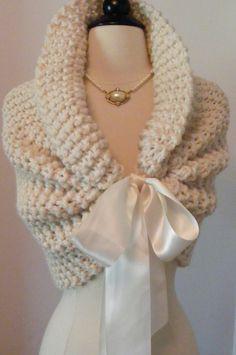 Wedding Shawl / Bride Bolero / Shrug / Bolero / Bridal Shawl / Ivory Shawl / Custom Hand Knit / Shawl. $98.00, via Etsy.
