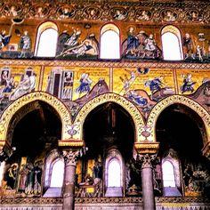 Today's theme is at 📷 📷 📷 📷 📷 Arched windows shed light inside the Cathedral of Monreale, near Palermo, Sicily. A national monument of Italy and main attraction in Sicily, construction of this church began in 🇮🇹🇮🇹🇮🇹🇮🇹🇮🇹🇮🇹 Palermo Sicily, Las Vegas Trip, Sicily Italy, Arched Windows, Main Attraction, Travelogue, Cathedrals, Travel Photos, Shed