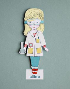 Smallful Printables - Willow Paper doll with 4 costumes: scientist, superhero, witch, and fairy - perfect Halloween DIY Craft.
