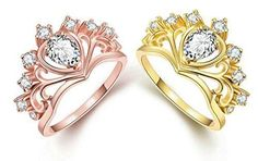 Anazoz Gold Plated Lady Austrian Crystal Rose Gold Type C White Diamond Stud Earrings