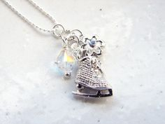 Figure Skater Necklace Little Ice Skate and by smallbluethings, $26.00