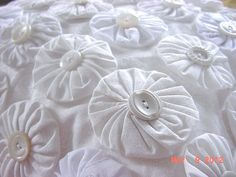 Shabby Cottage Chic Quilt YoYo White Vintage by KeepsakeKorner, $39.95