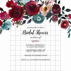 Burgundy Red Wine Bridal Shower Invitation - Can change text and color as you wish. Hand Painted Watercolor Sage Green Flowers and Text Burgundy Floral Design See our Niche and Nest Store for the matching collection