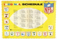 So much to love about this 1965 NFL schedule placemat. Let's start with that logo collection.